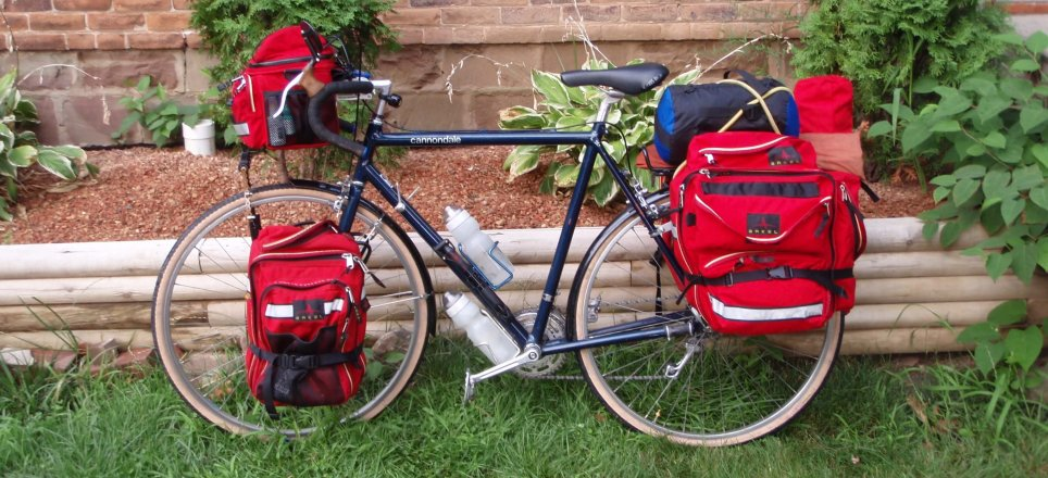 My Cannondale 1983s loaded up with a full complement of Arkel GT series panniers!