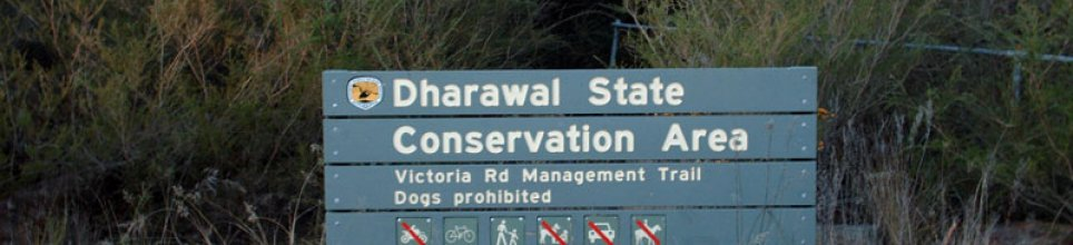 One of the entrance signs to Dharawal. Cycling allowed!