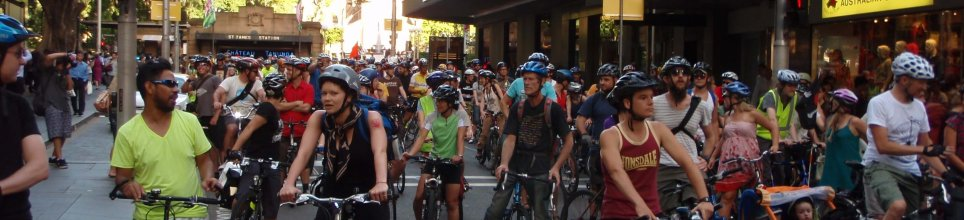Critical Mass Sydney, passing St James Station